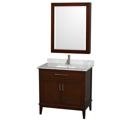 Hatton 36 Single Dark Chestnut Bathroom Vanity Set with Medicine Cabinet Top Finish: White Carrera Marble, Faucet Mount: Single Hole