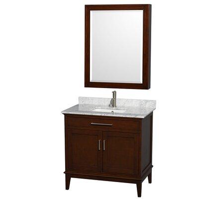 "Wyndham Collection Hatton 36"" Single Bathroom Vanity Set - Base Finish: Dark Chestnut, Top Finish: White Carrera at Sears.com"