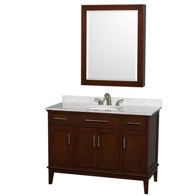 Hatton 48 Single Dark Chestnut Bathroom Vanity Set with Medicine Cabinet Top Finish: White Carrera Marble, Faucet Mount: 8 Centers