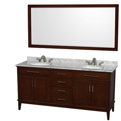 Hatton 72 Double Dark Chestnut Bathroom Vanity Set with Mirror Top Finish: White Carrera Marble, Faucet Mount: 8 Centers