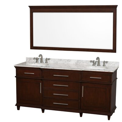 Berkeley 72 Double Dark Chestnut Bathroom Vanity Set with Mirror Top Finish: White Carrera Marble