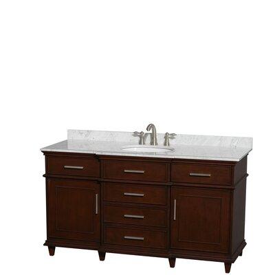 Berkeley 60 Single Bathroom Vanity Set Base Finish: Dark Chestnut, Top Finish: White Carrera