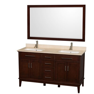 Hatton 60 Double Dark Chestnut Bathroom Vanity Set with Mirror Top Finish: Ivory Marble, Faucet Mount: Single Hole