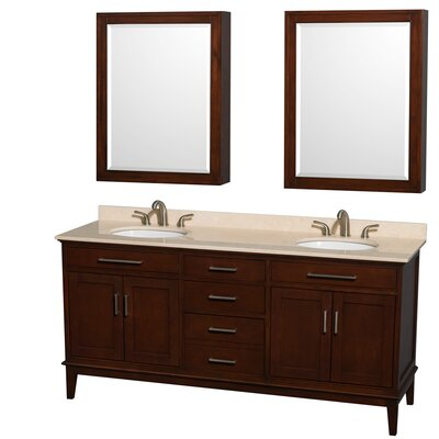Hatton 72 Double Dark Chestnut Bathroom Vanity Set with Medicine Cabinets Top Finish: Ivory Marble, Faucet Mount: 8 Centers