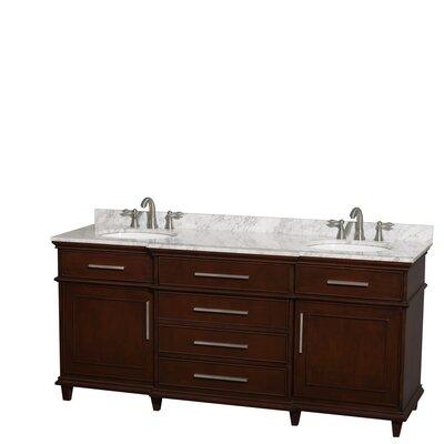 Berkeley 72 Double Bathroom Vanity Base Finish: Dark Chestnut, Top Finish: White Carrera