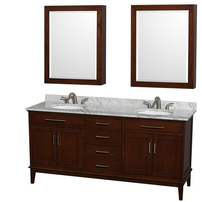 Hatton 72 Double Dark Chestnut Bathroom Vanity Set with Medicine Cabinets Top Finish: White Carrera Marble, Faucet Mount: 8 Centers