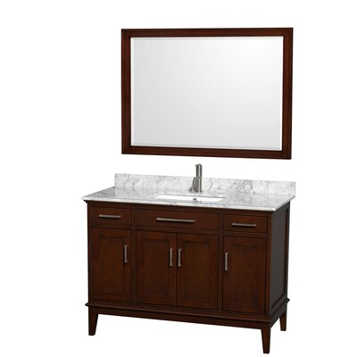 Hatton 48 Single Dark Chestnut Bathroom Vanity Set with Mirror Top Finish: White Carrera Marble, Faucet Mount: Single Hole