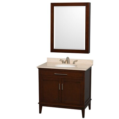 Hatton 36 Single Dark Chestnut Bathroom Vanity Set with Medicine Cabinet Top Finish: Ivory Marble, Faucet Mount: 8 Centers