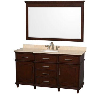 Berkeley 60 Single Dark Chestnut Bathroom Vanity Set with Mirror Top Finish: Ivory Marble