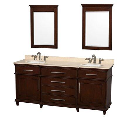 Berkeley 72 Double Dark Chestnut Bathroom Vanity Set with Mirror Top Finish: Ivory Marble