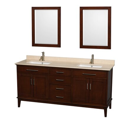 Hatton 72 Double Dark Chestnut Bathroom Vanity Set with Mirror Top Finish: Ivory Marble, Faucet Mount: Single Hole