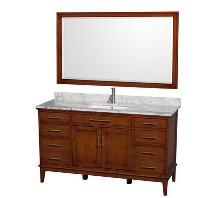 Hatton 60 Single Light Chestnut Bathroom Vanity Set with Mirror Top Finish: White Carrera Marble, Faucet Mount: Single Hole