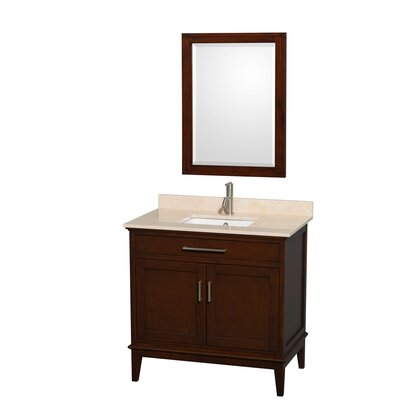 Hatton 36 Single Dark Chestnut Bathroom Vanity Set with Mirror Top Finish: Ivory Marble, Faucet Mount: Single Hole