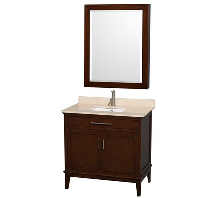 Hatton 36 Single Dark Chestnut Bathroom Vanity Set with Medicine Cabinet Top Finish: Ivory Marble, Faucet Mount: Single Hole