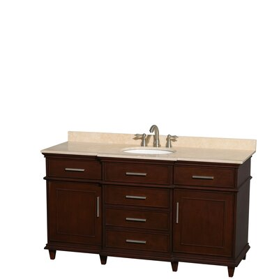 Berkeley 60 Single Bathroom Vanity Set Base Finish: Dark Chestnut, Top Finish: Ivory