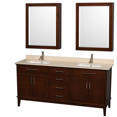 Hatton 72 Double Dark Chestnut Bathroom Vanity Set with Medicine Cabinets Top Finish: Ivory Marble, Faucet Mount: Single Hole