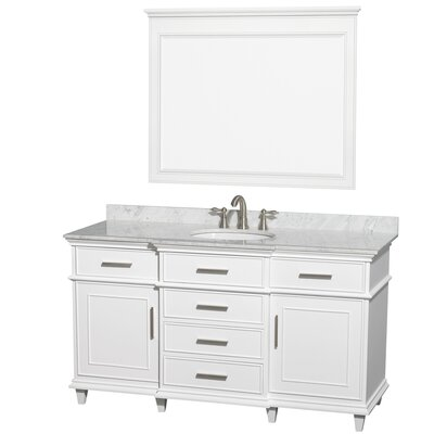 Berkeley 60 Single White Bathroom Vanity Set with Mirror Top Finish: White Carrera Marble