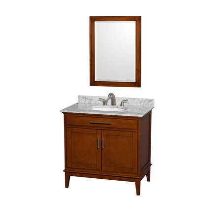 Hatton 36 Single Light Chestnut Bathroom Vanity Set with Mirror Top Finish: White Carrera Marble, Faucet Mount: 8 Centers