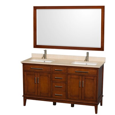 Hatton 60 Double Light Chestnut Bathroom Vanity Set with Mirror Top Finish: Ivory Marble, Faucet Mount: Single Hole