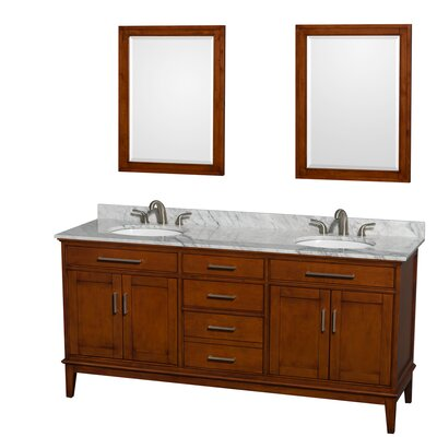 Hatton 72 Double Light Chestnut Bathroom Vanity Set with Mirror Top Finish: White Carrera Marble, Faucet Mount: 8 Centers