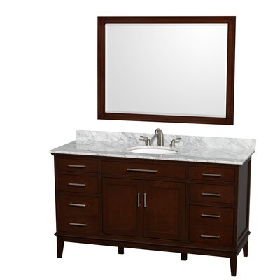 Hatton 60 Single Dark Chestnut Bathroom Vanity Set with Mirror Top Finish: White Carrera Marble, Faucet Mount: 8 Centers