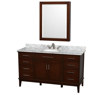 Hatton 60 Single Dark Chestnut Bathroom Vanity Set with Medicine Cabinet Top Finish: White Carrera Marble, Faucet Mount: 8 Centers