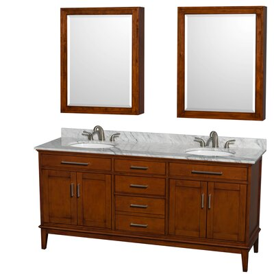 Hatton 72 Double Light Chestnut Bathroom Vanity Set with Medicine Cabinet Top Finish: White Carrera Marble, Faucet Mount: 8 Centers