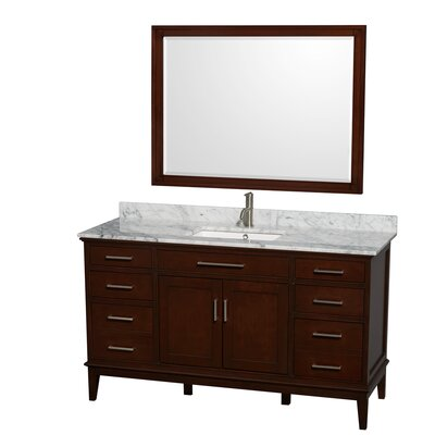Hatton 60 Single Dark Chestnut Bathroom Vanity Set with Mirror Top Finish: White Carrera Marble, Faucet Mount: Single Hole