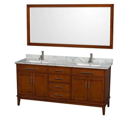 Hatton 72 Double Light Chestnut Bathroom Vanity Set with Mirror Top Finish: White Carrera Marble, Faucet Mount: Single Hole