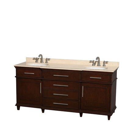 Berkeley 72 Double Bathroom Vanity Base Finish: Dark Chestnut, Top Finish: Ivory