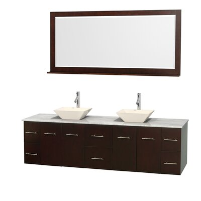 Centra 80 Double Espresso Bathroom Vanity Set with Mirror Top Finish: White Carrera Marble, Sink Finish: Bone Porcelain