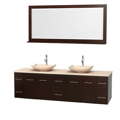 Centra 80 Double Espresso Bathroom Vanity Set with Mirror Top Finish: Ivory Marble, Sink Finish: Arista Ivory Marble