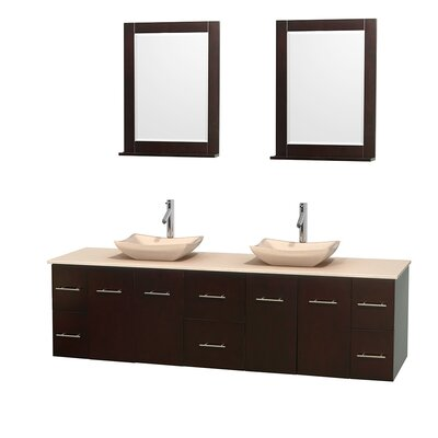 Centra 80 Double Espresso Bathroom Vanity Set with Mirror Top Finish: Ivory Marble, Sink Finish: Avalon Ivory Marble