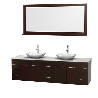 Centra 80 Double Espresso Bathroom Vanity Set with Mirror Top Finish: White Carrera Marble, Sink Finish: Arista White Carrera Marble