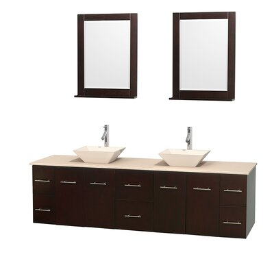 Centra 80 Double Espresso Bathroom Vanity Set with Mirror Top Finish: Ivory Marble, Sink Finish: Bone Porcelain