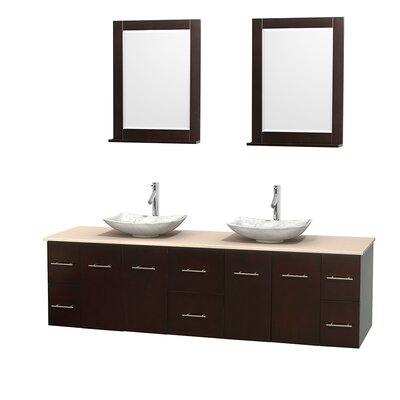 Centra 80 Double Espresso Bathroom Vanity Set with Mirror Top Finish: Ivory Marble, Sink Finish: Arista White Carrera Marble