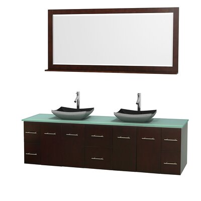 Centra 80 Double Espresso Bathroom Vanity Set with Mirror Top Finish: Green Glass, Sink Finish: Altair Black Granite