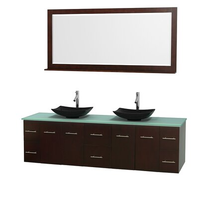 Centra 80 Double Espresso Bathroom Vanity Set with Mirror Top Finish: Green Glass, Sink Finish: Arista Black Granite