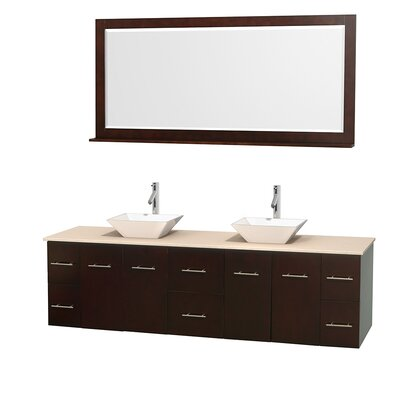 Centra 80 Double Espresso Bathroom Vanity Set with Mirror Top Finish: Ivory Marble, Sink Finish: White Porcelain
