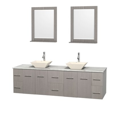 Centra 80 Double Gray Oak Bathroom Vanity Set with Mirror Sink Finish: Bone Porcelain, Top Finish: White Carrera Marble