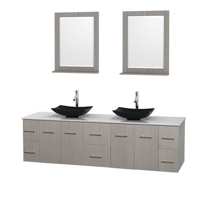 Centra 80 Double Gray Oak Bathroom Vanity Set with Mirror Sink Finish: Arista Black Granite, Top Finish: White Man-Made Stone