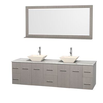 Centra 80 Double Gray Oak Bathroom Vanity Set with Mirror Top Finish: White Carrera Marble, Sink Finish: Bone Porcelain