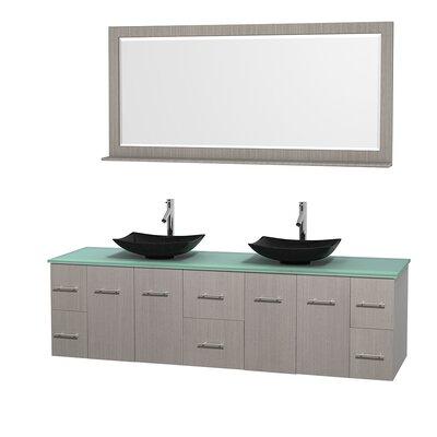 Centra 80 Double Gray Oak Bathroom Vanity Set with Mirror Top Finish: Green Glass, Sink Finish: Arista Black Granite