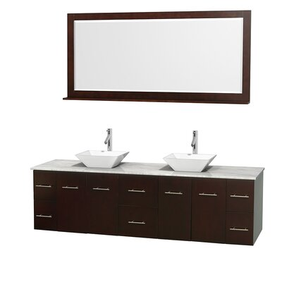 Centra 80 Double Espresso Bathroom Vanity Set with Mirror Top Finish: White Carrera Marble, Sink Finish: White Porcelain