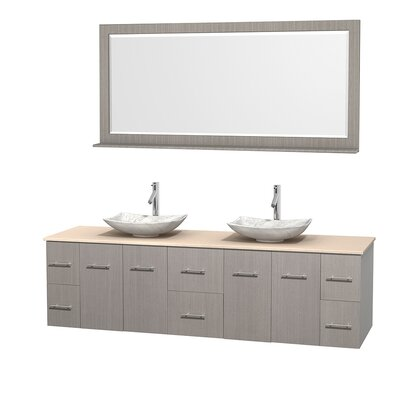 Centra 80 Double Gray Oak Bathroom Vanity Set with Mirror Top Finish: Ivory Marble, Sink Finish: Arista White Carrera Marble