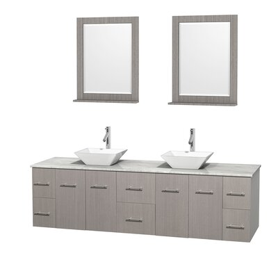 Centra 80 Double Gray Oak Bathroom Vanity Set with Mirror Top Finish: White Carrera Marble, Sink Finish: White Porcelain