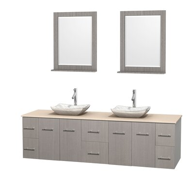 Centra 80 Double Gray Oak Bathroom Vanity Set with Mirror Top Finish: Ivory Marble, Sink Finish: Avalon White Carrera Marble