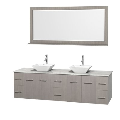Centra 80 Double Gray Oak Bathroom Vanity Set with Mirror Sink Finish: White Porcelain, Top Finish: White Carrera Marble
