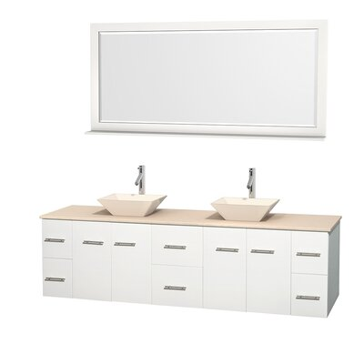 Centra 80 Double White Bathroom Vanity Set with Mirror Top Finish: Ivory Marble, Sink Finish: Bone Porcelain