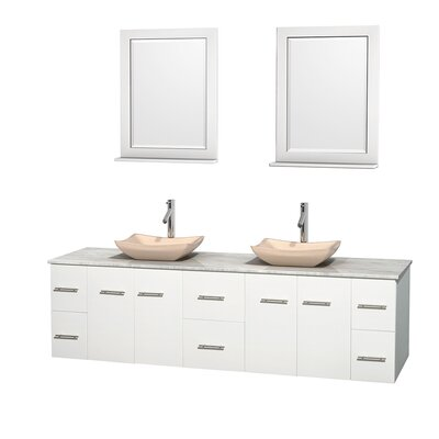 Centra 80 Double White Bathroom Vanity Set with Mirror Top Finish: White Carrera Marble, Sink Finish: Avalon Ivory Marble